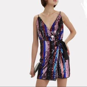 The East Order Lily Striped Sequin Wrap Dress NWT